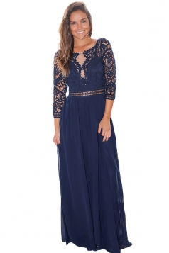 Elegant Crochet Quarter Sleeve Lace Maxi Evening Dress Navy Blue