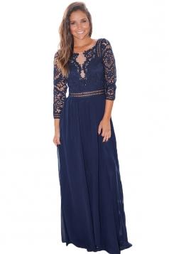 Elegant Crochet Quarter Sleeve Lace Maxi Evening Dress Navy Blue