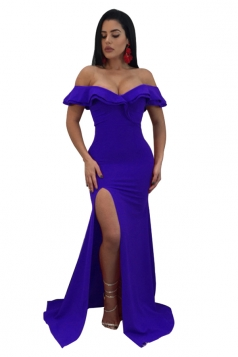 Womens Sexy Off Shoulder Ruffle Collar Side Slit Maxi Dress Blue