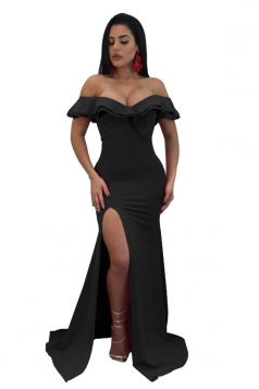 Womens Sexy Off Shoulder Ruffle Collar Side Slit Maxi Dress Black