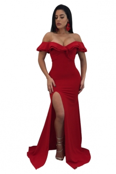 Womens Sexy Off Shoulder Ruffle Collar Side Slit Maxi Dress Red