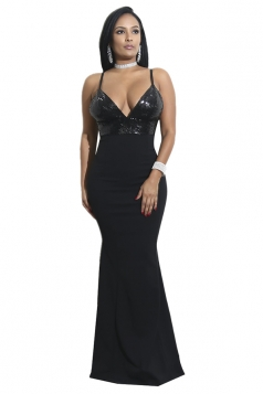 Womens Sexy V-Neck Sequin Spaghetti Strap Backless Maxi Dress Black