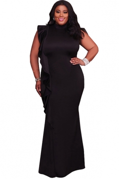 Womens High Collar Ruffle Oversized Bodycon Maxi Evening Dress Black