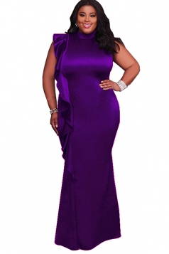 Womens Elegant Ruffle Sleeveless Oversized Maxi Evening Dress Purple
