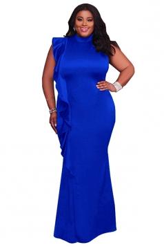 Womens Ruffle Oversized Bodycon Maxi Plain Evening Dress Sapphire Blue