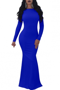 Womens Elegant Slash?Neck Backless Bodycon Maxi Evening Dress Blue