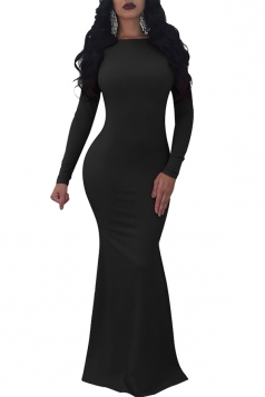 Womens Long Sleeve Backless Bodycon Maxi Plain Evening Dress Black