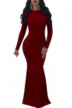 Womens Elegant Long Sleeve Backless Bodycon Plain Evening Dress Ruby