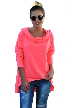 Womens Casual High Low Cowl Neck Long Sleeve Plain Hoodie Pink