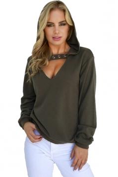 Womens Trendy V-Neck Eyelet Halter Long Sleeve Plain Hoodie Army Green