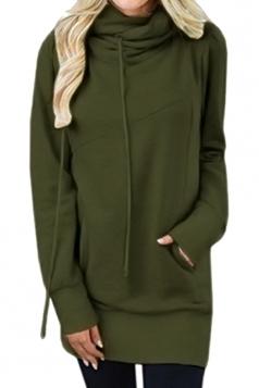 Womens Drawstring Cowl Neck Slant Pocket Plain Sweatshirt Army Green