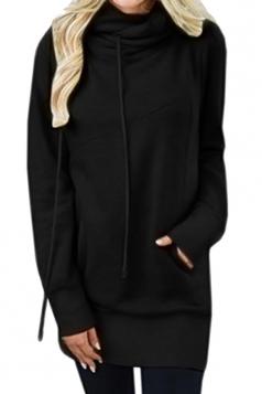 Womens Casual Drawstring Cowl Neck Slant Pocket Plain Sweatshirt Black