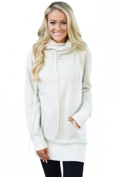 Womens Casual Drawstring Cowl Neck Slant Pocket Plain Sweatshirt White