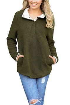 Womens Pocket Long Sleeve Turndown Collar Eyelet Sweatshirt Green