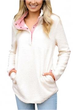 Womens Pocket Long Sleeve Turndown Collar Eyelet Sweatshirt White