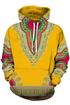 Womens Slant Pocket Drawstring Ethnic Pattern Printed Hoodie Orange