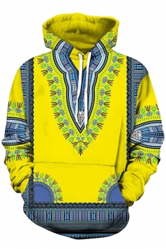 Womens Slant Pocket Drawstring Ethnic Pattern Printed Hoodie Yellow