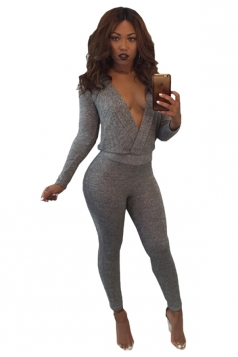 Womens Sexy Deep V-Neck Backless Cut Out Plain Long Jumpsuit Gray