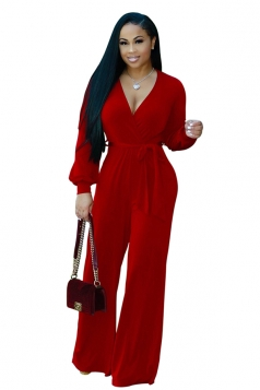 Womens Sexy V-Neck Long Sleeve Belt Loose Wide Legs Plain Jumpsuit Red