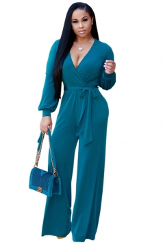 Womens V-Neck Long Sleeve Belt Loose Wide Legs Plain Jumpsuit Turquoise