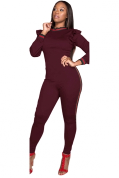 Womens Long Sleeve Stringy Selvedge Stripe Close-Fitting Jumpsuit Ruby