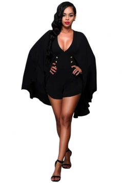Womens Sexy V-Neck Long Sleeve Button Design Cape Short Jumpsuit Black