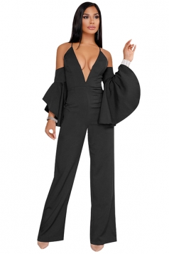 Spaghetti Straps Cold Shoulder Ruffle Sleeve Wide Legs Jumpsuit Black