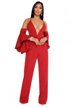Womens Deep V-Neck Halter Cold Shoulder Ruffle Hem Sleeve Jumpsuit Red