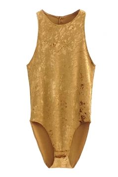 Womens Sexy Close-Fitting Cut Out Sleeveless Plain Bodysuit Gold