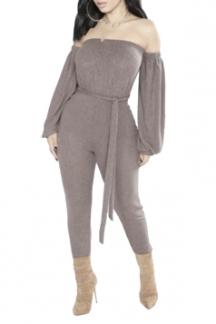 Womens Sexy Off Shoulder Waist Tie Puff Sleeve Plain Jumpsuit Gray