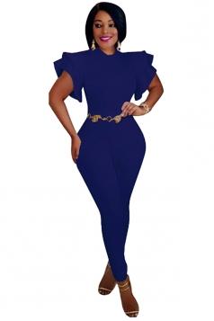Womens Close-Fitting Ruffle Sleeve High Waisted Plain Jumpsuit Blue