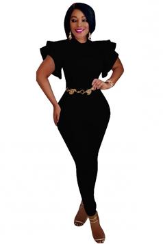 Womens Close-Fitting Ruffle Sleeve High Waisted Plain Jumpsuit Black