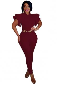 Womens Close-Fitting Ruffle Sleeve High Waisted Plain Jumpsuit Ruby