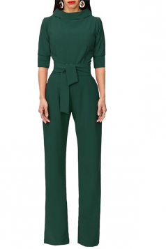 Womens Waist Tie Stand Collar 3/4 Length Sleeve Jumpsuit Dark Green