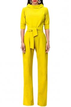 Womens Pocket Waist Tie Stand Collar 3/4 Length Sleeve Jumpsuit Yellow