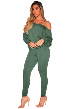 Womens Sexy One Shoulder Puff Sleeve High Waisted Jumpsuit Army Green