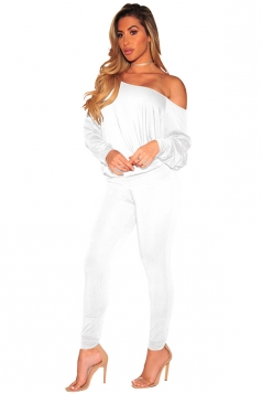 Womens Sexy One Shoulder Puff Sleeve High Waisted Jumpsuit White