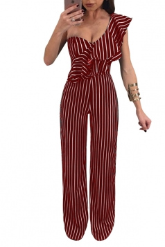 Womens Sexy One Shoulder Ruffle Wide Leg Striped Jumpsuit Red