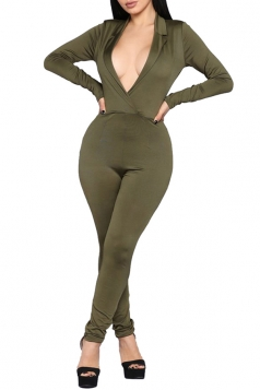 Womens Sexy V-Neck High Waisted Long Sleeve Plain Jumpsuit Army Green