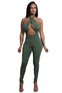 Womens Crisscross Halter Cut Out Backless Lace Up Jumpsuit Army Green