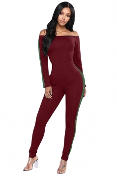 Womenes Off Shoulder Long Sleeve Close-Fitting Plain Jumpsuit Ruby
