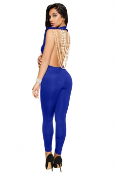 Womens Sexy Sleeveless Backless String Of Pearls Back Jumpsuit Blue