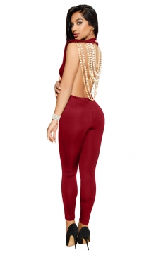 Womens Sexy Backless String Of Pearls Back Plain Fitting Jumpsuit Ruby