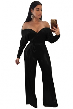 Womens Sweetheart Neckline Waist Tie Wide Legs Metallic Jumpsuit Black