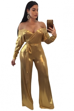 Womens Sexy Off Shoulder Long Sleeve Wide Legs Metallic Jumpsuit Gold