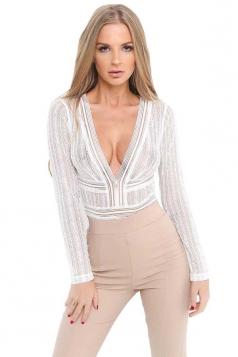 Womens V Neck Long Sleeve Backless Sheer Lace Plain Bodysuit White