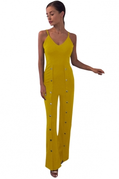 Womens Spaghetti Straps Rivet Design Bell Bottom Plain Jumpsuit Yellow