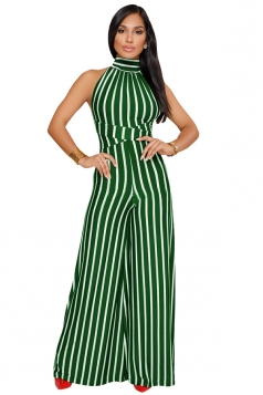 Womens High Neck Halter With Waist Tie Wide Legs Stripe Jumpsuit Green