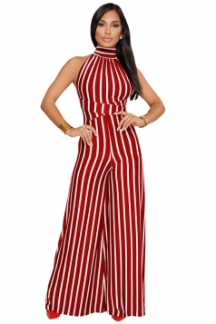 Womens Halter Sleeveless With Waist Tie Wide Legs Stripe Jumpsuit Ruby