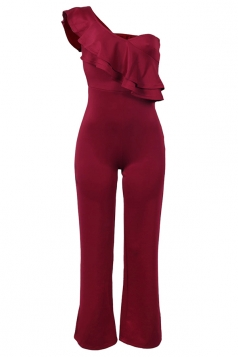 Womens Sexy One Shoulder Ruffled Clubwear Bodycon Plain Jumpsuit Ruby